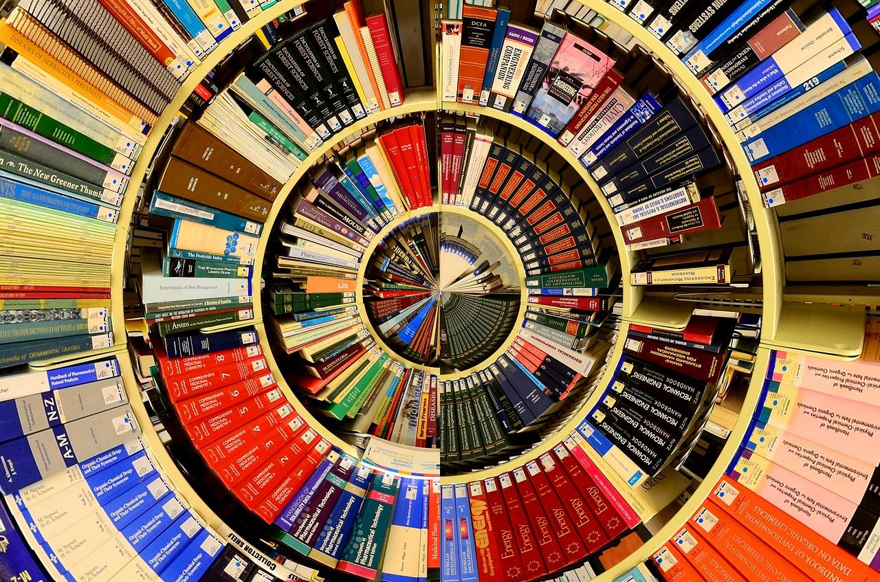 Colourful descending spiral of books