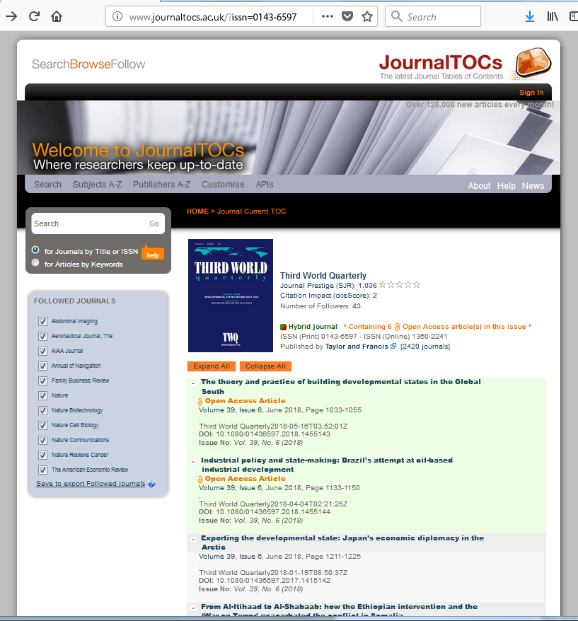Example of using the RSS cc:license tag to identify OA articles published in a hybrid journal