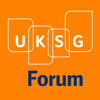 White UKSG and blue forum on orange background