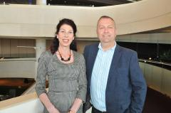Insights editors Lorraine Estelle and Steve Sharp in Harrogate Convention Centre
